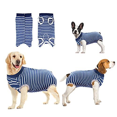 oUUoNNo Heilungsanzüge für Hunde, chirurgische Erholung für weibliche männliche Bauchwunden, Spay oder Hautkrankheiten, Kegel-E-Halsband-Alternativen (S, Streifen Blau)