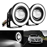 Mictuning 2pcs High Power 3.5' Projector Universal LED Fog Light w/White COB Halo Angel Eye Rings