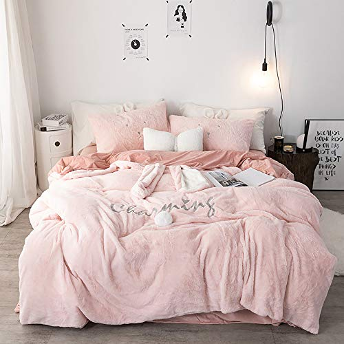 MNBVC Bedding Set Double Bed Pink, Winter Duvet Cover Set, Soft Warm Flannel Thick Warm Fabric Bedding Set Double Duvet Cover Set Cute Rabbit Ears, 4 Pcs Quilt Cover Sets, With Small Heart pillow