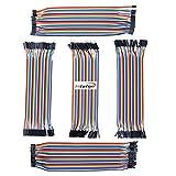 HiLetgo 200pcs 5x40pcs Breadboard Jumper Wires Dupont Wire Male to Male, Male to Female, Female to Female, 2.54mm to 2.54mm, 2.54mm to 2.0mm, 2.0mm to 2.0mm 20CM Cables Assortment Kit for Arduino DIY