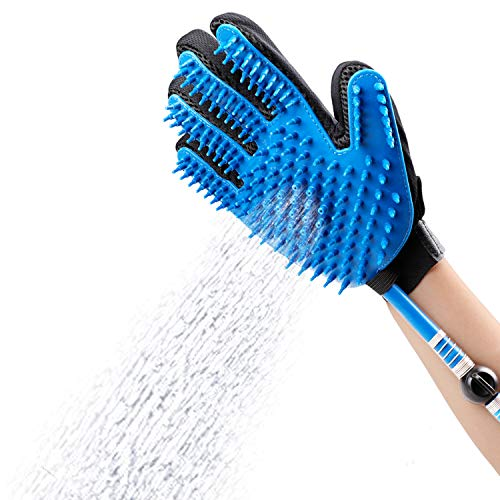 SWARK Dog Shower Sprayer Bath Glove, Pet Bathing Tool Compatible with Shower Bath Tub and Outdoor Garden Hose, Pet Hair Remover, Shower Grooming Glove for Dog,Cat (Light Blue)