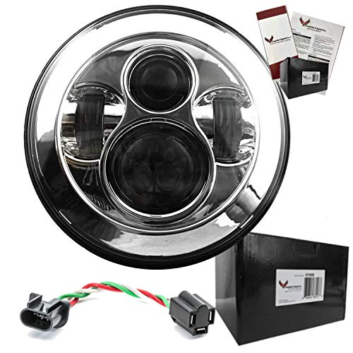 Eagle Lights Harley 7 inch Round LED Headlight DOT approved fits Road King. Street Glide, Softail, FLHX and other bikes with 7 inch...