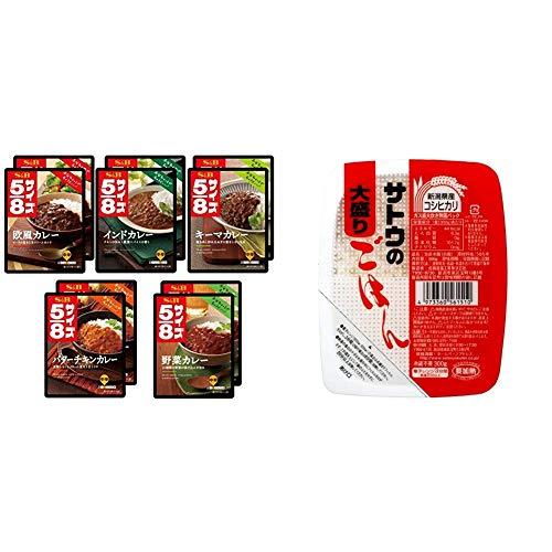 【セット販売】【Amazon.co.jp限定】 エスビー食品 5/8カレー 5種×2個セット + サトウのごはん 新潟県産コシヒカリ大盛 300g×6個