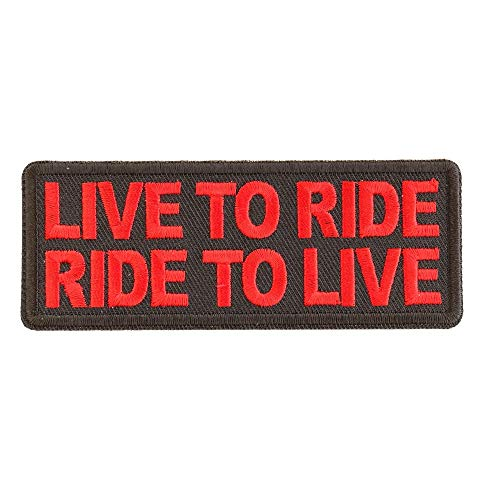 Live to Ride Ride to Live Red Patch - 4x1.5 inch. Embroidered Iron on Patch