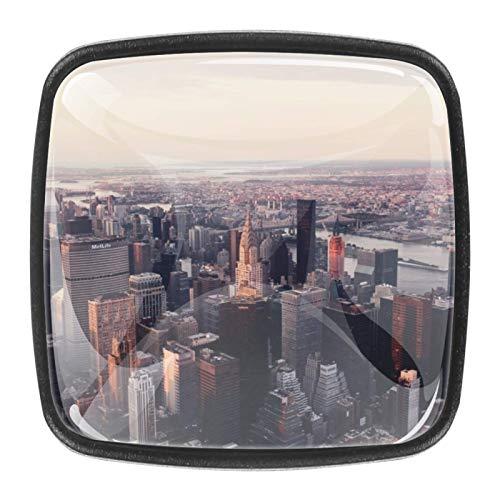 4 pomos de cristal para cajón, tiradores de cajón con tornillos para el hogar, la oficina, el gabinete, el armario y la ciudad.