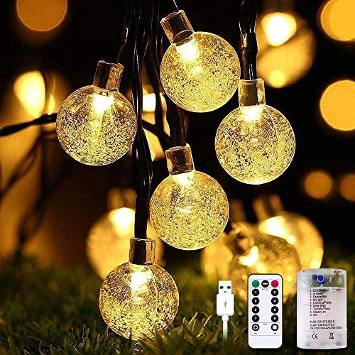 EPROSMIN Globe String Lights Battery Operated - 43ft 100 LED 8 Modes Decorative Lights, Waterproof Fairy String Lights for Patio, Indoor, Outdoor, Christmas, Wedding, Party, Connectable (Warm White)