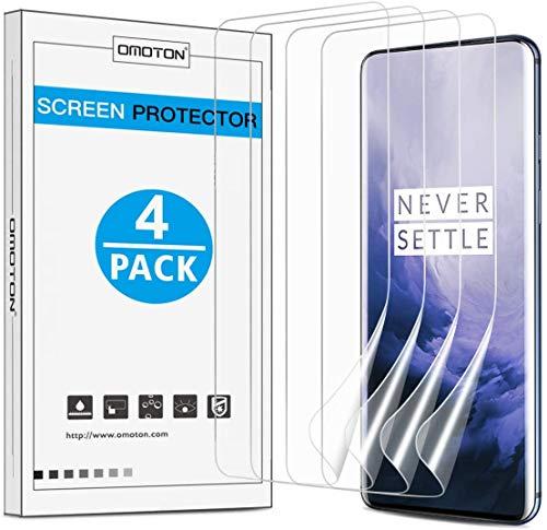 OMOTON 4 Unidades, Protector Pantalla Soft TPU Compatible con Oneplus 7 Pro/Oneplus 7T Pro, Cobertura Completa, Alta Definicion, Sin Burbujas, 24 Horas de Autocuración