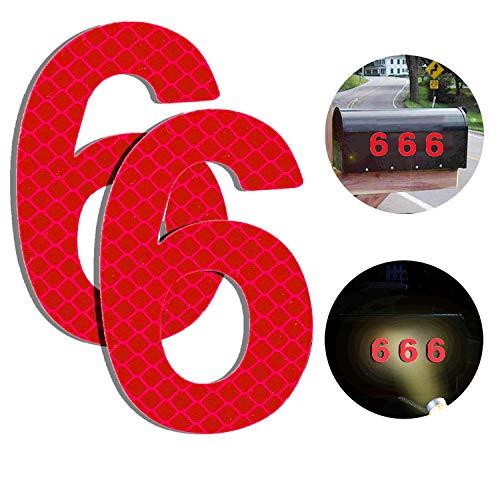 Reflektierende Hausnummer 6 aus Edelstahl, 7cm Selbstklebende Hausnummer, Klebend Hausnummer Schild zum Aufkleben für Briefkasten/Mailbox/Wand/Straßen und Tür (2er Pack)