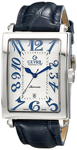 Gevril Men's 5007A 'Avenue of America' Stainless Steel Automatic Watch with Blue Leather Strap