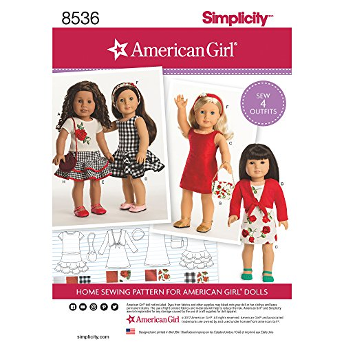 """Simplicity Sewing Pattern 8536 - American Girl 18"""" Doll Clothes, OS (ONE SIZE)"""