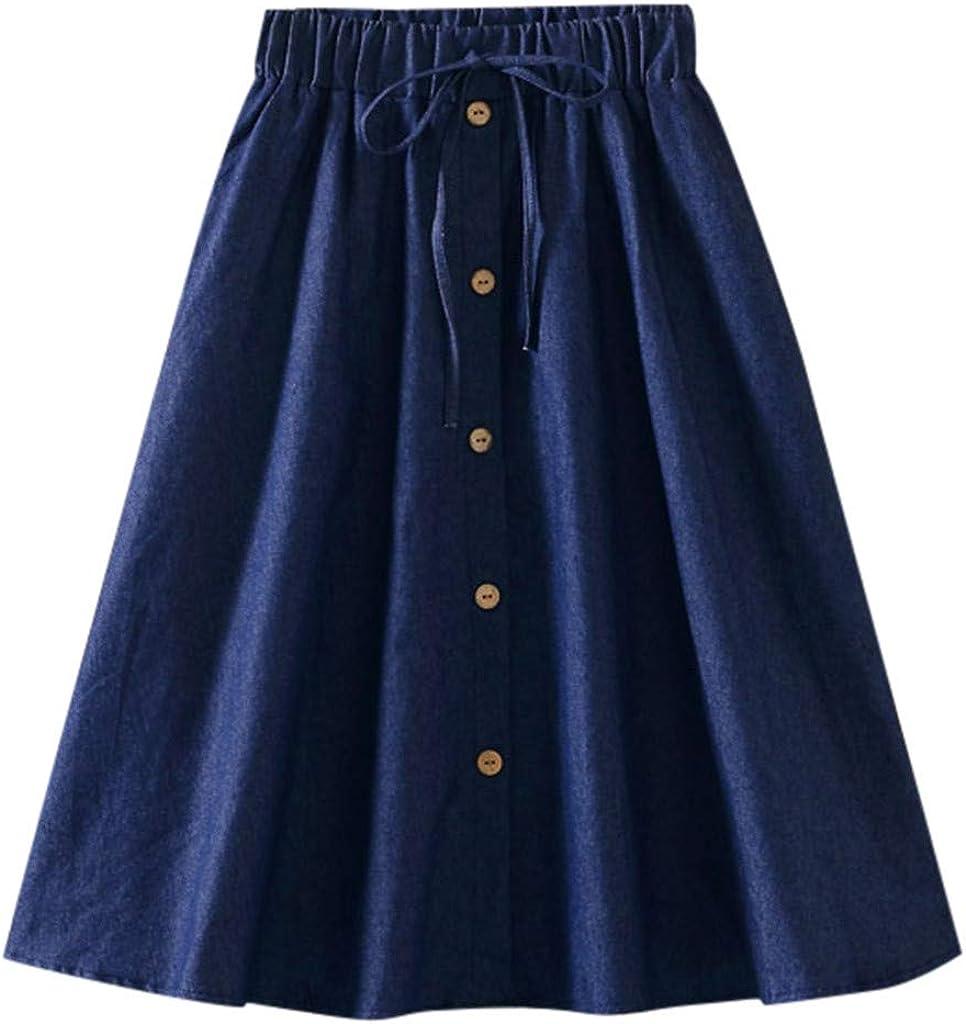 Roumin Retro Women's Wild Loose Skirt, Casual Denim Comfortable High Waist Button Skirt