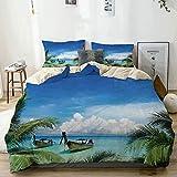 Juego de funda nórdica beige, exótica playa hawaiana con palmeras y barcos de pesca, imagen del paraíso, juego de cama decorativo de 3 piezas con 2 fundas de almohada, fácil cuidado, antialérgico, sua