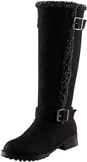 Botas Altas para Mujer de Invierno Hebilla de Cinturón Botas de Nieve Cálidas Alto Botas de Mujer Casual Plataforma Botas ...
