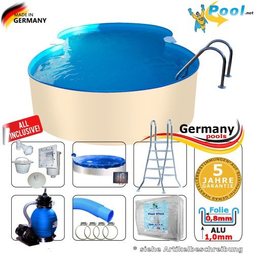 Achtformbecken-Alu 6,25 x 3,60 x 1,50 m Achtformpool-Alu Set achtform Pool Einbau Pools Aufstellpool Gartenpool Sets Aufstellbecken Schwimmbecken Swimmingpool Komplettset