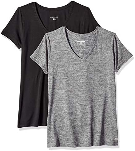 Amazon Essentials Women s 2 Pack Tech Stretch Short Sleeve V Neck T Shirt Black Space Dye Black product image