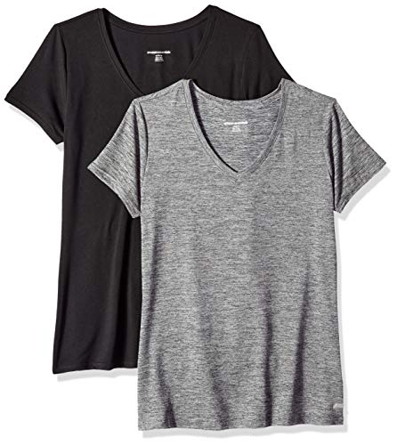 Amazon Essentials Women's 2-Pack Tech Stretch Short-Sleeve V-Neck T-Shirt, Space dye/Black, Medium
