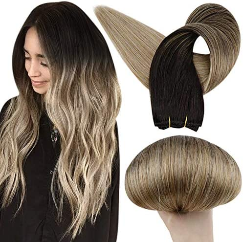 Full Shine 16 Inch Sew in Hair Extension 100 Percent Human Hair Weft Bundles Color 1B Off Black product image