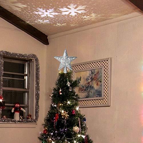 Madmoon Weihnachten 3D Led Projektor Schneeflocke, Weihnachtsbaumschmuck Weihnachtsbeleuchtung Außen/Innen Lichtprojektor für Halloween Ostern Neujahr Geburtstag ,LED Projektionslampe