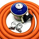 continental products Butane Gas Regulator With 2M Hose & 2 Clips Fits Calor Gas/Flogas 21Mm Cylinder