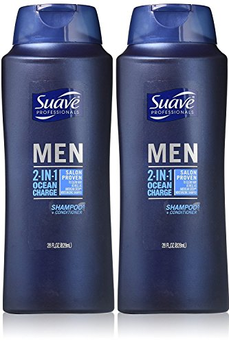 Suave Professionals Mens, 2-in-1 Shampoo & Conditioner, Ocean Charge, 28 Oz (Pack of 2)