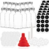 Gewürzgläser Set mit 14 Gläsern und 21 Ausgießern – Glasbehälter mit einer Füllmenge von 170ml – Wiederverwendbare Gläser mit Luftdichtem Deckel – Bedruckte und unbedruckte...