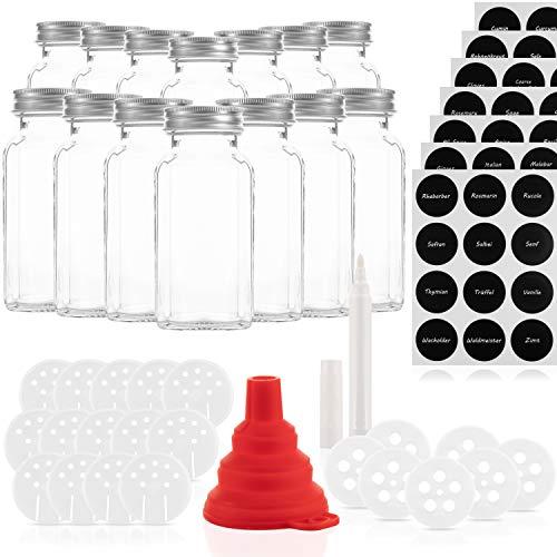 14 Gewürzgläser Set 170ml mit 21 Ausgießern – Glasbehälter mit einer Füllmenge von 170ml – Wiederverwendbare Gläser mit Luftdichtem Deckel – Bedruckte und unbedruckte Label – Mit Stift