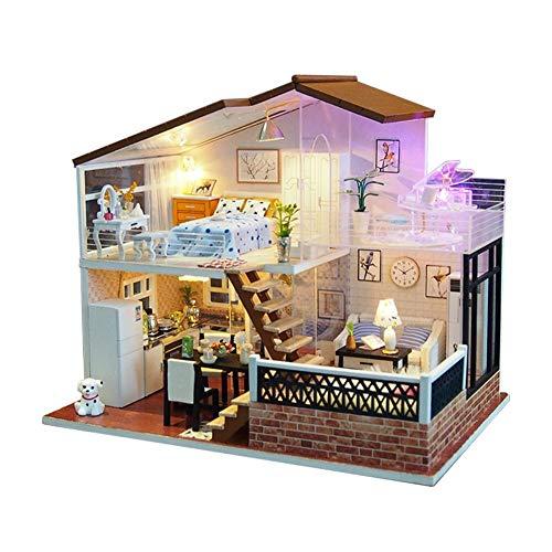 Terynbat DIY casa de juguete, regalo creativo casa diy casa hecha a mano M014 un metro de sol edificio casa modelo cumpleaños, casa de campo en miniatura con movimiento de música