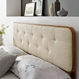 Modway Collins Tufted Fabric and Wood Queen Headboard in Walnut Beige