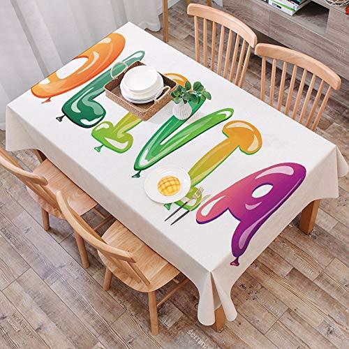 Mantel Antimanchas Rectangular Impermeable,Olivia, conocida nina tradicional nombre con raices medievales modernas d,Manteles Mesa Decorativo para Hogar Comedor del Cocina,(140 x 200 cm/55*78 pulgada)