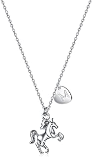 """Turandoss Horse Gifts for Girls Necklace, 18"""" Silver Horse Pendant Necklace Kids Heart Initial Necklace Horse Jewelry for ..."""