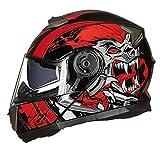 Casco de motocicleta modular Crash DOT ECE aprobado - YEMA YM-925 Casco de motocicleta de carreras de cara completa con visera bluetooth para E,Xl