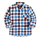 Arshiner Little Baby Girls Boys Long Sleeve Western Shirts Blue Buffalo Plaid Flannel Christmas Outfits