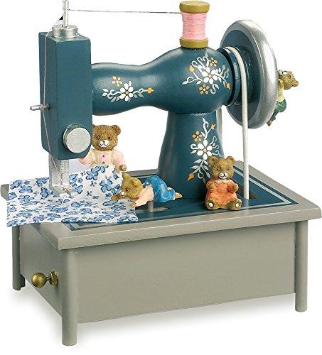 """Spieluhr """"Nähmaschine"""" aus Holz, in einem wunderschönen nostalgischen Design mit vielen kleinen Details, die Teddybären nähen fleißig zur Melodie """"It is a small world"""", ausgezeichnete Klangqualität"""