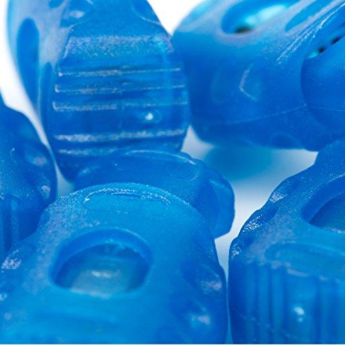 5X 1-Loch Kordelstopper - 20mm x 30mm - Rot, Schwarz, Dunkelblau, Saphir Blau, Gold oder Weiß (Saphir Blau)