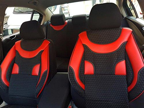 seatcovers by k-maniac V133940 Fundas de Asiento para Opel Astra G, universales, Juego de Asientos Delanteros, Accesorios para el Interior del Coche, Color Negro y Rojo
