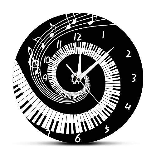 12 inch wandklok, stille vintage vinyl wandklok, elegante piano keys, zwart en wit klokken, notities, golven, rond, toetsenbord, muziekliefhebbers, pianist, geschenken