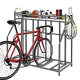 PEXMOR Bike Rack Floor Parking Stand for 4 Bikes, Bike Garage Stand Rack with Storage Baskets & Hooks, Freestanding Bike Rack for Mountain/Road/Hybrid Adult or Kids Bike