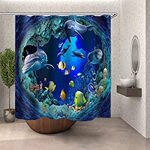 ColorPapa 3D Decorative Shower Curtain Dolphin and Deep Sea Fish on Seabed with Coral and Ocean Water Waterproof Polyester Fabric Bath Curtain with 12pcs Hooks