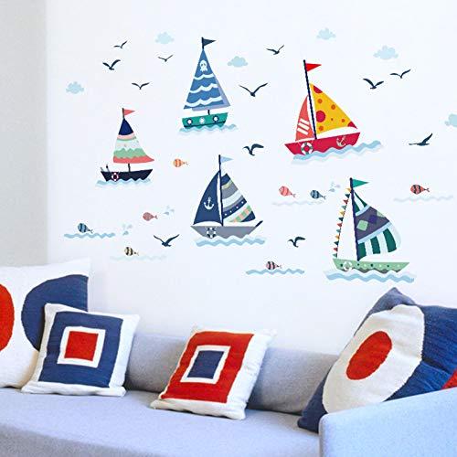 Cartoon Zeilboot met Zeezicht Muursticker voor Kinderen Kamers Home Decoratie Glas Raam Achtergrond muurstickers Poster Stickers