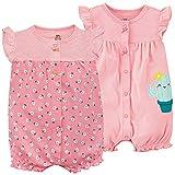 Bebé Verano Monos 2 Piezas - Niñas Pelele de Manga Corta Pijama de Algodón Animales Body para Recién nacido 9-12 Meses