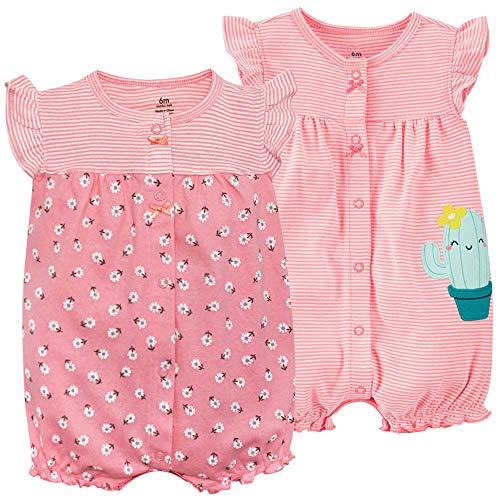 Bebé Verano Monos 2 Piezas - Niñas Pelele de Manga Corta Pijama de Algodón Animales Body para Recién nacido 6-9 Meses