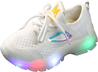 FWEIP Children Baby Girls Boys Breathable Mesh Sneakers Led Luminous Sport Run Sports Shoes