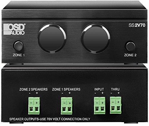 OSD Audio 70V 2-Zone Speaker Selector – 100W Volume Control System - SS2V70