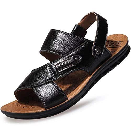 Kelsey65 Sandalias de piel para hombre, puntera abierta, para verano, vacaciones, con hebilla de ocio, ligera, cómoda y antideslizante, color negro, tamaño 40