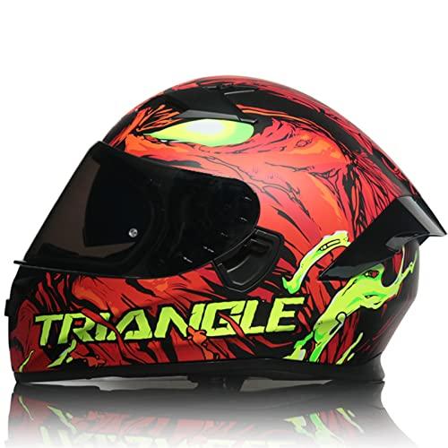 Casco integral para motocicleta con protectores transparentes/tintados, casco abatible para bicicleta de calle con doble visera, aprobado por DOT/ECE,Monster b,XL