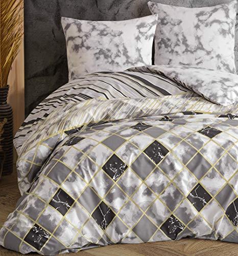 Leonado Vicenti - Bettwäsche-Set 100% Baumwolle Renforce Bezug Kissen Schlafzimmer Set Moderne Farben wählbar, Anzahl der Teile:3-teilig 200x220 cm, Farbe, Design:Grau. Steine