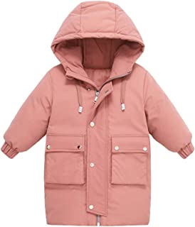Xifamniy Little Infant Baby Mid-Long Coat Solid Color Fashion Casual Hooded Down Jacket Outwear
