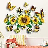 JZLMF Zsz1323 Tournesol Sticker Mural 3D Couleur Stéréo Papillon Salon Chambre Fond Décoratif Sticker Mural Autocollant
