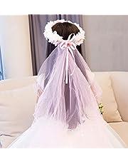 ZGP Tocado Corona Guirnalda de Flores Tocado de los Niños Princesa Accesorios para el Cabello Garland Veil Vestido de Niña de la Moda Festival de Rendimiento