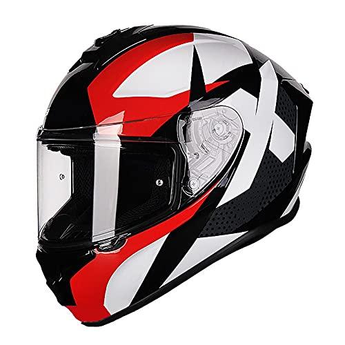 Casco Moto Integral ECE Homologado para Adultos,Casco Moto Full Face con Doble Anti Niebla Visera,Casco Scooter con Visera Reemplazable Solido para Hombre y Mujer 56~61cm